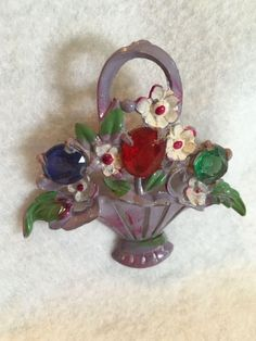 Vintage Flower Basket Pin