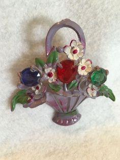 Vintage Flower Basket Pin