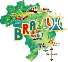 """""""Brazil Map"""" Graphic/Illustration by Migy Ornia-BLanco posters, art prints, canvas prints, greeting cards or gallery prints. Find more Graphic/Illustration art prints and posters in the ARTFLAKES s. Tattoo Brazil, Country Maps, Travel Illustration, Thinking Day, Map Design, Graphic Design, Travel Maps, Vintage Travel Posters, Belem"""