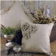 Burlap Ruffled Pillow - This natural burlap 16 square pillow has a hidden zipper for inserting and removal of polyester pillow form (included). Ruffled burlap trim on edges make a charming accent. Measures: 18 x 18 (Shown back left). #vintage #farmhouse