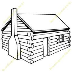 Log Cabin Clip Art Sketch Coloring Page