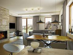 KOLIA - projekt domu z otwartą kuchnią i garażem z jednospadowym dachem. Studio Krajobrazy. Decor, Furniture, Conference Room, House Design, Room, House, Dining Table, Home Decor, Conference Room Table
