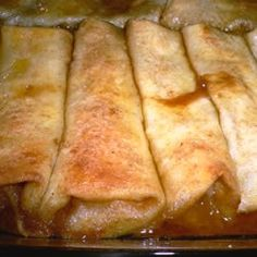 Apple Enchiladas - These are amazing! I made a pan of apple and a pan of cherry. The sauce is incredible. The cooked tortillas are so light. Easy to make and delish! I highly recommend trying this one. Original pinner said : Apple enchiladas. Serve warm with good vanilla ice cream