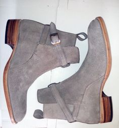 Jodhpurs Gray Suede Leather Boots, Men Ankle Desert Boots Leather Sole Handmade #Handmade #anklehigh