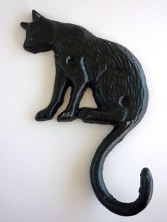 SALE Lovely Hand Painted Cat Iron Hook or by PortugueseVintage