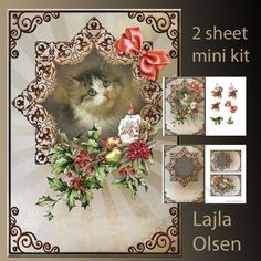 Christmascat by Lajla Olsen A5 cardfront with decoupage,insert andgiftcard.2 sheets for printing.Enjoy:): A5 cardfront with…