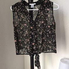 Crop top Beautiful floral sheer crop top with lace back. Great condition Tops Crop Tops