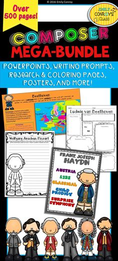 "Famous Composers (Mega-Bundle of resources for the whole year!) is the perfect way for students to learn and review information on famous composers! The product contains writing prompts, Pinterest profiles, research pages, coloring sheets, posters, trading cards (for use in center activities, review, and the game ""Who Am I"" explained below), exit tickets, and informational PowerPoint presentations on 23 music composers. It includes composers from the Baroque, Classical, Romantic, and Impressioni"