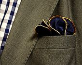 Pocket Round, Hankie, Wedding Handkerchief, Pocket Square, Mens Gift: Navy Blue and Gold Brown