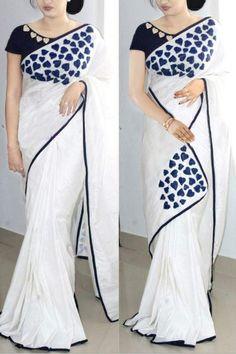Paper Silk Saree Collection With Embroidery Work Kerala Saree Blouse Designs, Saree Blouse Neck Designs, Fancy Blouse Designs, Saree Painting Designs, Saree Designs Party Wear, Saree Embroidery Design, Embroidery Stitches, Stylish Blouse Design, Saree Trends