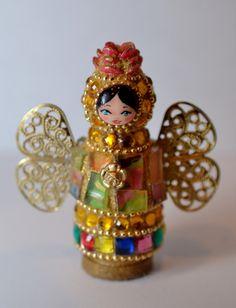 Tiny Mosaic Peg Doll Angel by FlutterflyMosaics on Etsy
