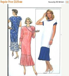 Butterick Sewing Pattern 3845 Misses Size 14 dress with pleated skirt, 1980s Designer Pattern, roaring 20's flare #DressPattern #SewingInstructions #WomensDressPattern #1980sPattern #LowBackDress #ButterickPattern #MidCalfDress #MoondancerCrafts #VintagePatterns #SewingPattern