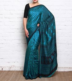 Blue Bagh Printed Mulberry Silk Saree