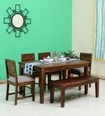 Buy Stanfield Solid Wood Six Seater Dining Set With Bench in Provincial Teak Finish by Amberville  Online: Shop from wide range of Dining Online in India at best prices. ✔Free Shipping✔Easy EMI✔Easy Returns