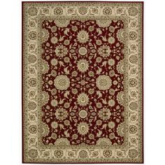 Nourison PC002 Persian Crown Collection Rectangle Rug, 3.9 by 5.9-Feet, Red Machine Woven Area Rug. 100% Polypropylene. Imported from Turkey.  #Waverly #Home