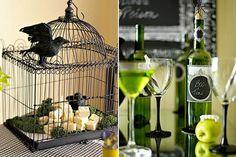 Halloween Wedding Reception Idea theme  green apple and black   birdcage black crow  martini