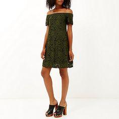 Khaki lace bardot swing dress