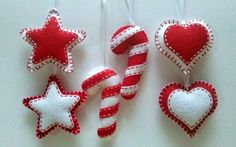 Felt christmas ornaments  set of 6 ornaments in by DusiCrafts
