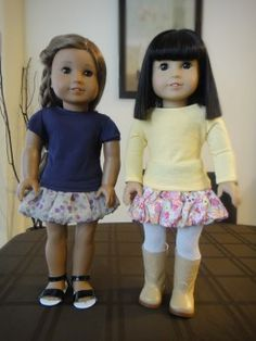 How to Sew a No Pattern Bubble Skirt for American Girl Dolls Dec 2012 made as gift for holidays and added leggings.