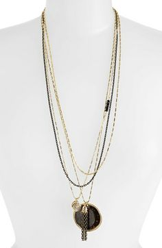 NORDSTROM MULTISTRAND DISC PENDANT NECKLACE