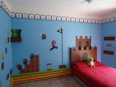 Super Mario Brothers Bedroom Decor – bedroom is where you relax your mind and soul. The bedroom is expected to bring peace and calm. Bedroom Themes, Bedroom Decor, Calm Bedroom, Bedroom Ideas, Bedroom Boys, Kid Bedrooms, Super Mario Room, Super Mario Nursery, Boy Room