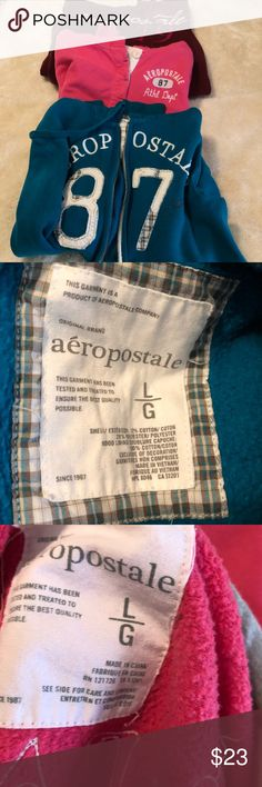 Bundle of 3 Aeropostale size L hooded sweatshirts Bundle of 3 Aeropostale size L hooded sweatshirts.  One zip up, one with Henley style buttons and one pullover Aeropostale Tops Sweatshirts & Hoodies