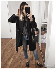 """Et par dessus la chemise c'était gilet noir et manteau Noir ✨ • Coat """"Johnson"""" #sezane (from @sezane) • Shirt """"lady"""" #sezane (from @Sezane) • Bag """"Dean"""" #sezane (from @Sezane) • Shoes #gucci ..."""