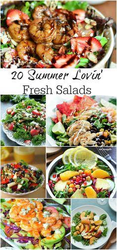 20 Summer Lovin' Fresh Salads!  #recipe #healthy #chicken #dinner #fruit