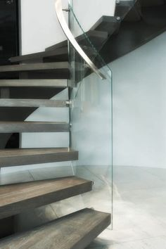 curved stairs glass railing - Google Search