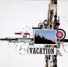 Scraps of Darkness kit club - Mixed media vacation layout created by Marianne Johansson with the Destinations kit and sketch.