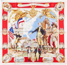 "Hermes Limited Edition Red, White, and Gold ""Marquis De Lafayette,""by Kermit Oliver Silk Scarf."
