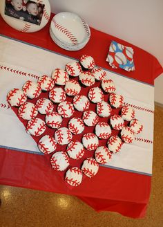 The boys first birthday baseball cupcakes!  I used licorice for the stitching.