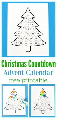 Free printable Christmas countdown advent calendar for kids. Use Do a Dot Markers, bingo markers, pom poms, stickers, or crayons to fill in each day. Christmas Countdown Crafts, Christmas Calendar, Noel Christmas, Christmas Crafts For Kids, Christmas Tables, Nordic Christmas, Modern Christmas, Christmas Stockings, Christmas Birthday