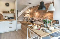 decordemon: Cozy house in Poland by architecture studio Shoko design Kitchen Living, Home Living Room, Living Room Decor, Dining Room, Küchen Design, House Design, Small Kitchen Tables, Small Apartments, Small Spaces