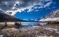 Download wallpapers Bow Lake, mountain lake, winter, snow, morning, fog, Canadian Rockies, Banff National Park, Alberta, Canada