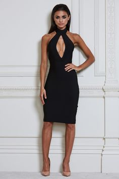 Mira Bandage Midi Dress - Black - MESHKI