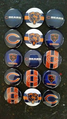 Chicago Bears bottlecap image  lot of 15 1 inch by RibbonBowtiques
