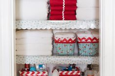 Scalloped Oilcloth Shelf Liner Tutorial + At Home with Modern June Giveaway | Sew Mama Sew | Outstanding sewing, quilting, and needlework tutorials since 2005.