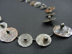 Necklace Silver and Copper Disks by KirstenDenbowDesigns on Etsy