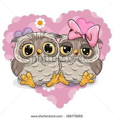 Two Cute Owls on a background of heart