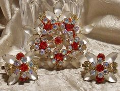 Vintage D&E Rhinestone Moonstone Brooch Earring by TheEclecticDiva, $145.00