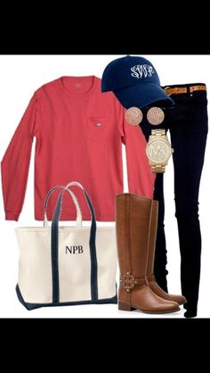 casual classy preppy outfit. riding boots make it perfect for fall