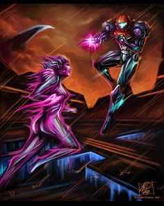 Samus as she appears in Metroid Fusion. Metroid Samus, Samus Aran, Metroid Prime 3, Super Metroid, Space Pirate, Sonic Art, Bounty Hunter, Super Smash Bros, Videogames