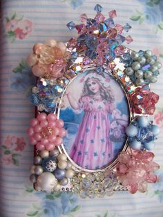 Your place to buy and sell all things handmade Old Jewelry, Jewelry Art, Jewelry Mirror, Jewelry Crafts, Vintage Jewelry, Upcycled Vintage, Vintage Glam, Vintage Picture Frames, Pastel Blue