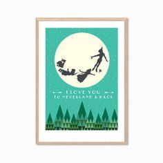 I Love You To Neverland & Back Poster : Modern Illustration Disney Movie Retro Art Wall Decor Print A4 11 x 8