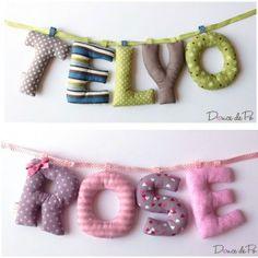 Le prénom en tissu est un cadeau unique, original à offrir pour une naissance. Lettres en tissus assortis selon un thème ou un univers avec possibilité de choisir parmi une grande variété de tissus. www.doucedepo.fr