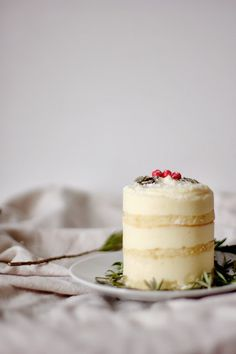 engrained: rosemary lemon mousse cakes with olive oil cake