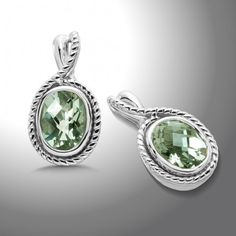 Colore SG by Lorenzo sterling silver and green amethyst drop earrings, $150.