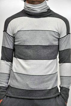 Kangra, maglia collo alte a righe orizzontali in tonalità di grigio