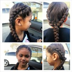 Two dutch side braids into one braid.  Instagram.com/little_miss_diva77